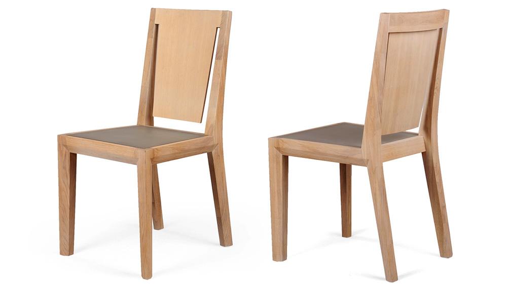 Chaise en bois et béton